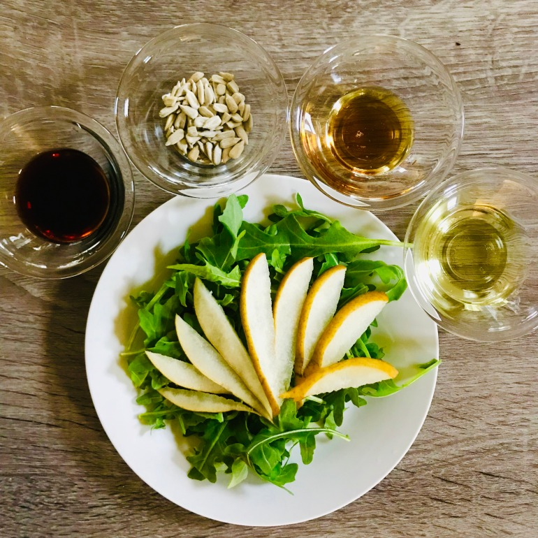 maple pear arugula salad
