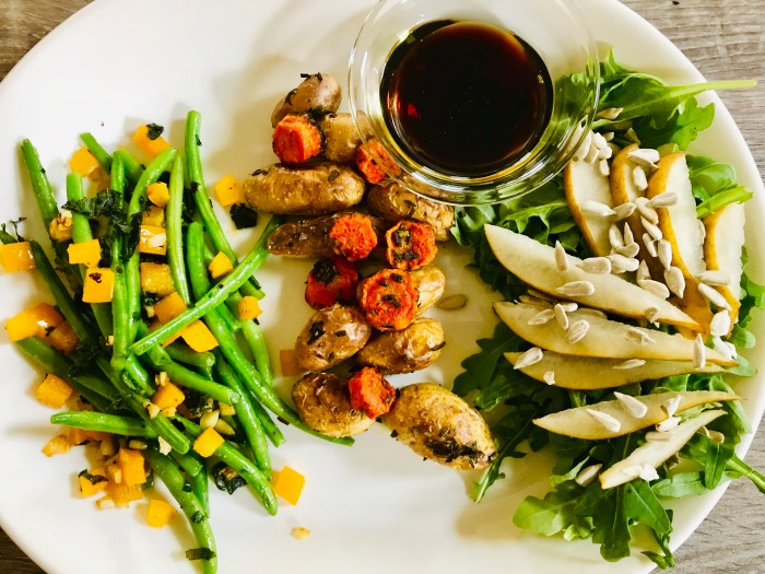 seasonal fall veggies with summer salad
