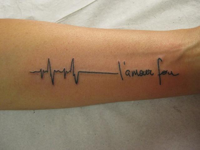 Tattoo ECG tatuagem L'amour Fou by Micael Faccio