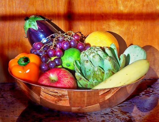 Eat healthy fruits and veggies bowl by Trace Nietert