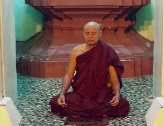 Meditating Monk at Shwedagon Pagoda by William