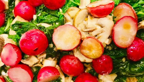 sauteed kale and radish zoom